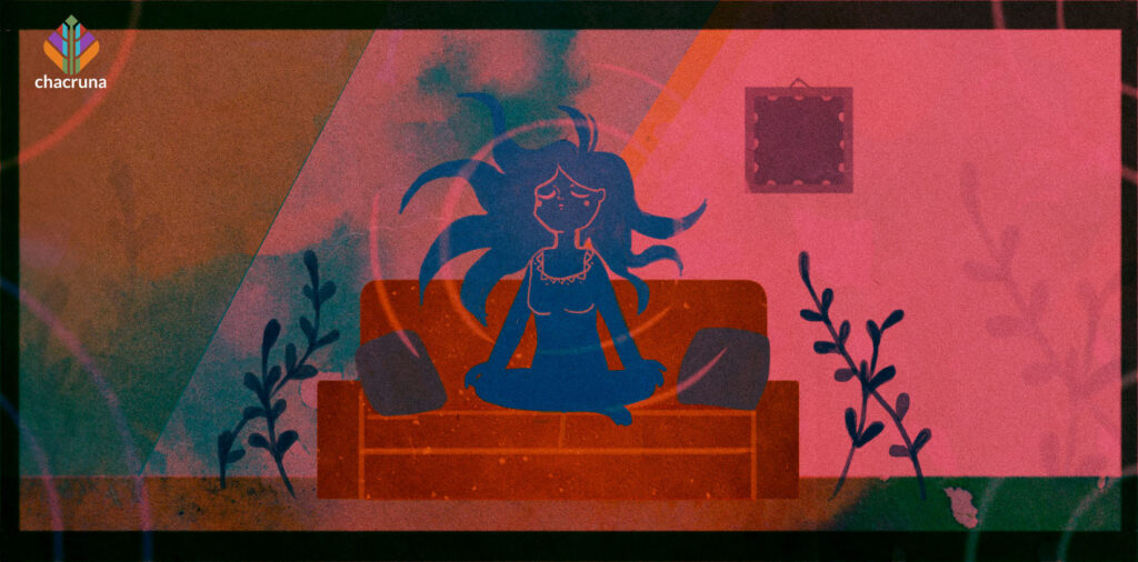 Set and Setting Artwork. A femme figure sits on a couch. By Karina Alvarez