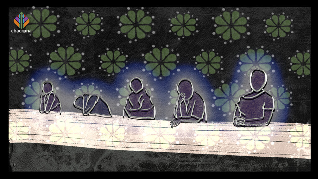 Five figures with a white aura representing the heroines of mescaline