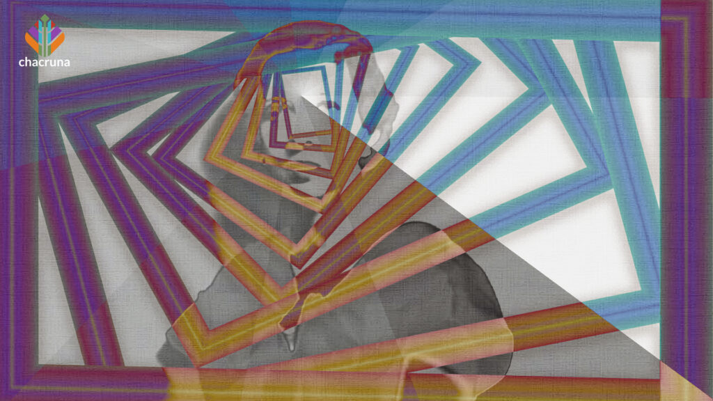 A psychedelic artistic portrait of Maria Nys Huxley.