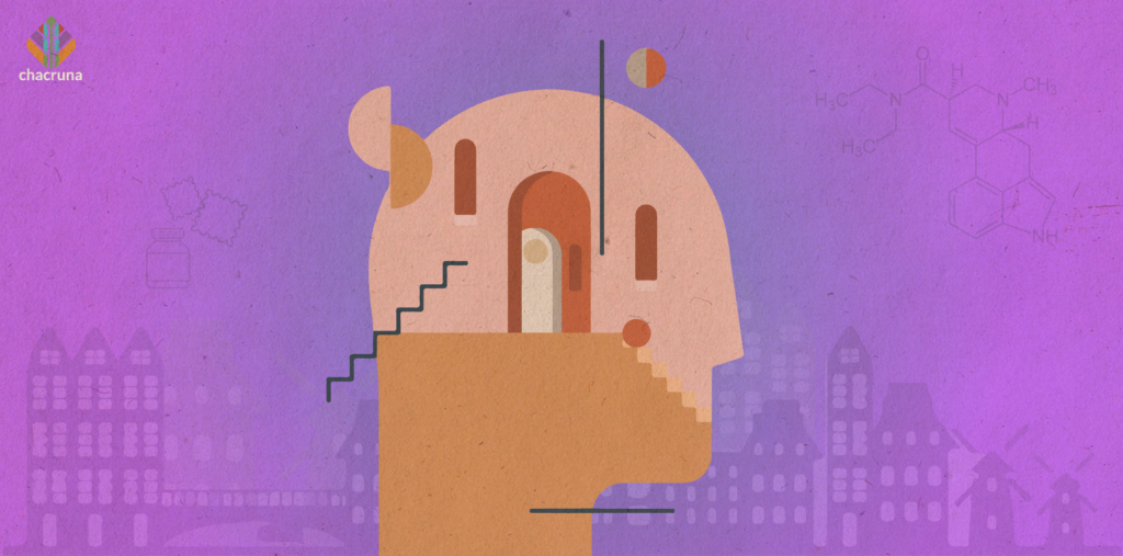 A depiction of a human mind with doors and stairs leading to it.