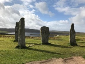 A sacred site in Scotland, large stones standing vertically.