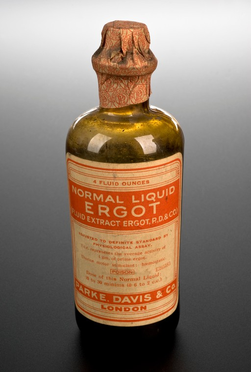 A bottle of Normal Liquid Ergot, a hallucinogenic plant fungus once used for abortion.