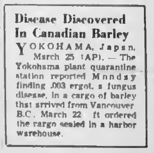 "A newspaper snippet from Victoria BC's The Daily Colonist from 1952 with the headline ""Disease Discovered in Canadian Barley"""