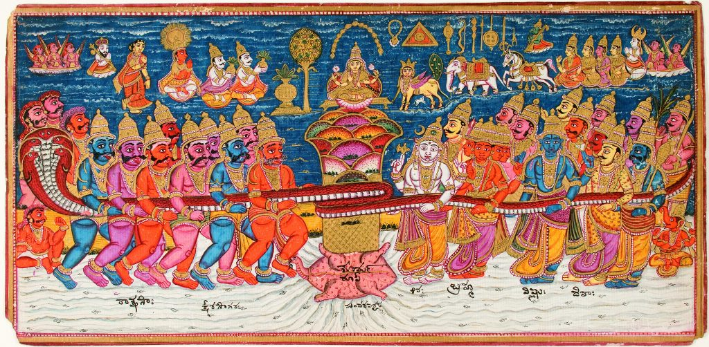 """The Churning of the Ocean Milk"" is a painting of Hindu gods under the ocean attempting to create soma from the waters."