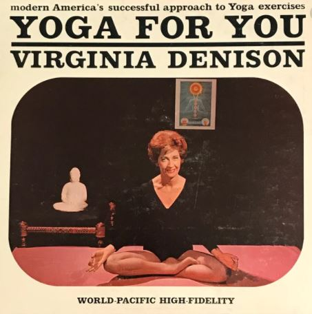 Cover of Yoga for You by Virgina Denison, Denison, a white woman, is sitting cross-legged wearing a black leotard.