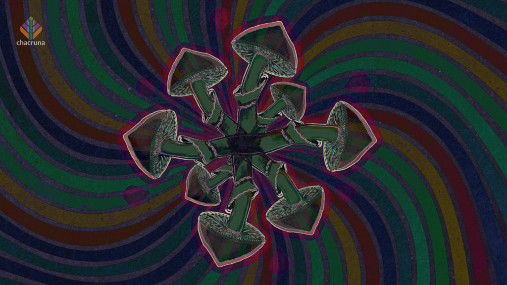 Eight green psychedelic mushrooms in a circle with their tops pointed outward.