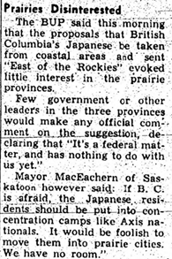 A newspaper article from 1942 demonstrating apathy towards Japanese internment in the Canadian prairies.